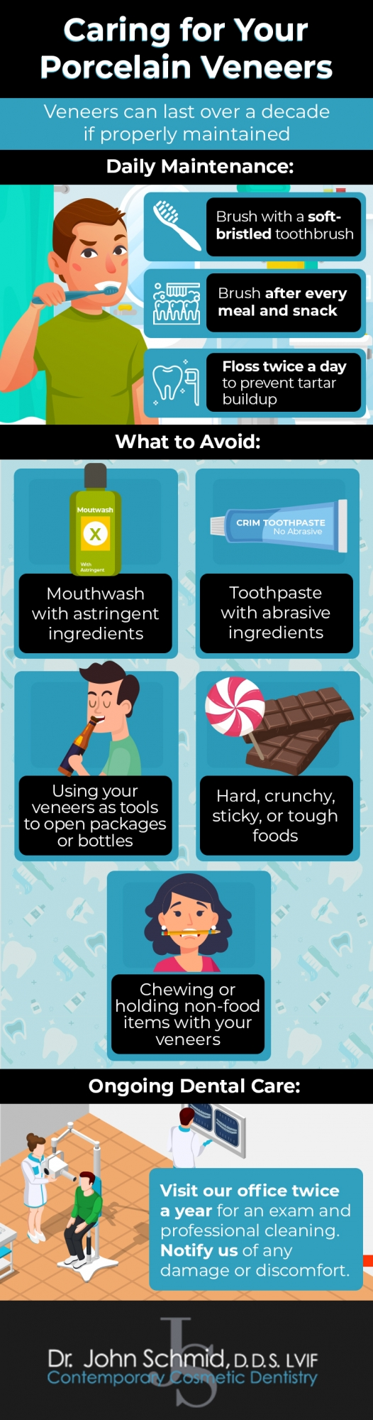 caring for your veneers infographic